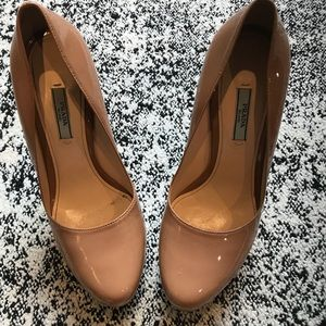Nude Toffee Colored Patent Leather Prada Pumps